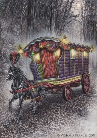 "Caravan Gypsy Vardo Wagon:  ""Misty Circus,"" by Victoria Frances. #Gypsy #wagon."