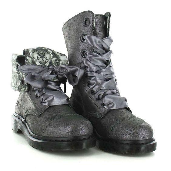 Doc Martens AIMILIE Triumph Metallic Grey Foldover 9-Eye Boots 2 Laces NEW Wms #DocMartens #Boots