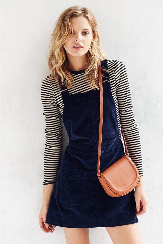 saddle bag, dungarees, dress, style, simple, casual, stripe, spring, fashion