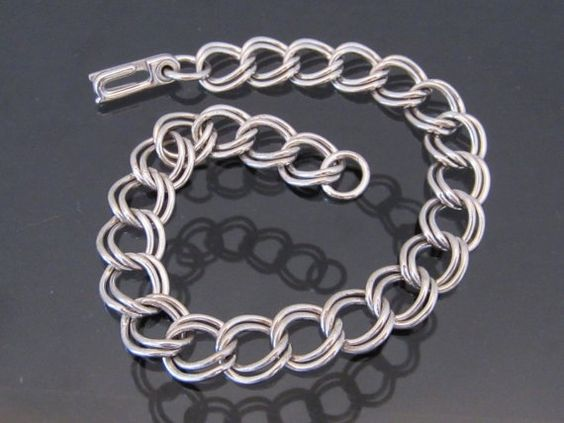 Antique Sterling Silver Link Chain Bracelet 7 by wandajewelry2013