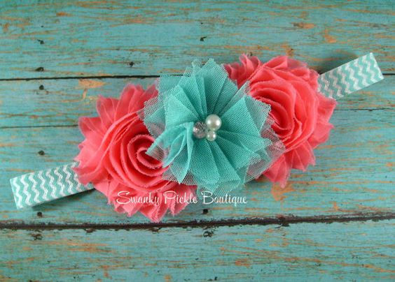 Dusty Rose & Aqua Chiffon Tulle Flower Aqua Chevron Headband -Newborn - Infant - Baby - Toddler - Girl - Adult - Photo Prop
