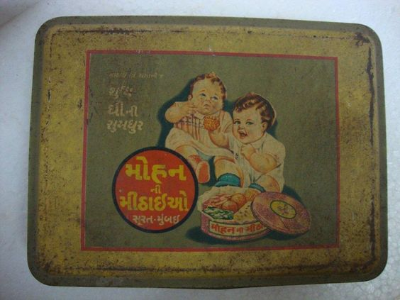 Old Rare Two Children Eating Sweets Advertising Litho Print Tin Box