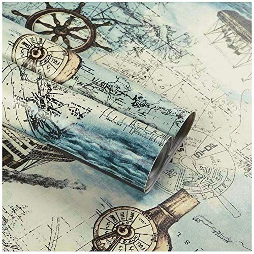 Nautical Map Wallpaper H2mtool Peel And Stick Removable Contact Paper Decorative 17 7 X 78 7 Nautical Map Map Wallpaper Nautical Map Nautical Wallpaper