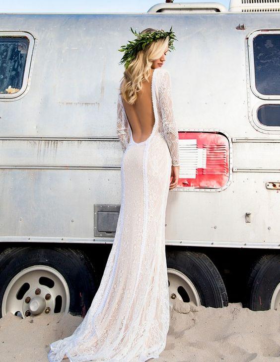 Boho Lace Wedding Gown for beach wedding