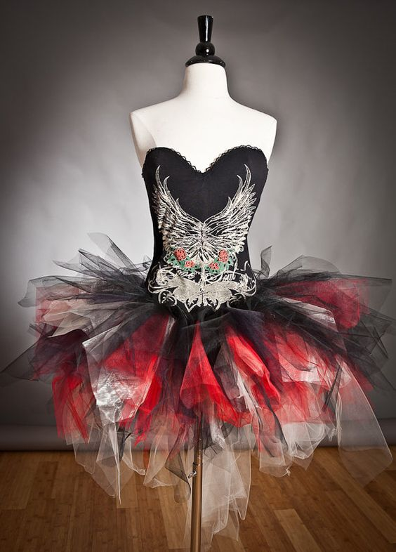 custom size red ivory and black corset tutu wing prom