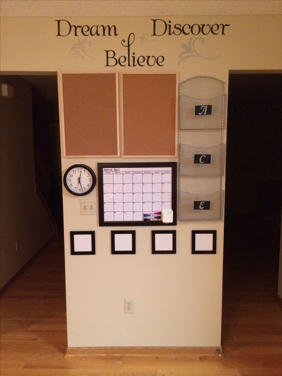 """My wife wanted me to hang up some pegboard for our kitchen """"command center"""". I had no idea what a command center was until I found a few inspirations on Pinterest. So thanks for the ideas! Here's my materials/cost breakdown: - wall art (Target, $10.99) - pegboard (IKEA, $? - wife bought them) - document rack (TJ Maxx/Home Goods, $24.99) - clock (Target, $4.99) - dry erase whiteboard (Target, $14.99) - already had 4 white photo frames (used $3 black gloss spray paint from Walmart)"""