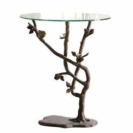 "Bring natural elegance to your decor with this handsome candleholder, showcasing a glass top resting on bronze-finished faux bois branches.    Product: Side table   Construction Material: Aluminum, MDF and glass   Color: Bronze and clear  Dimensions: 26"" H x 22"" Diameter"