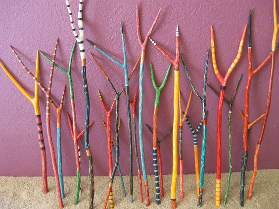 painted sticks- what a fun idea. Imagine an installation of these at school!