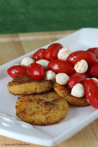 Fried Polenta Cakes with Grilled Tomato and Mozzarella Salad Recipe on ...
