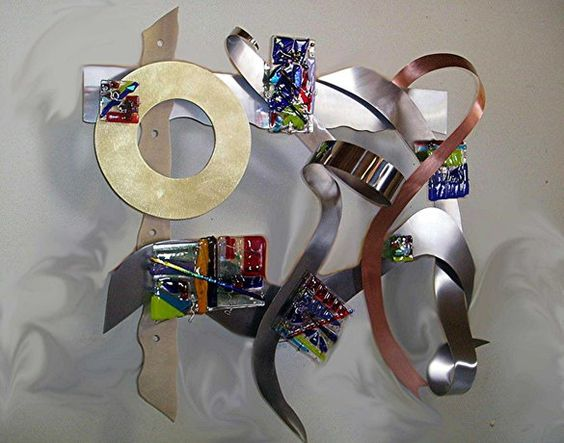 """Glass and Metal Sculptures - Unique """"Swirling Grace"""" by Jill Casty Glass Art"""