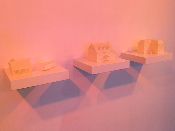 """""""The neighborhood - L'exorciste / Amityville / Evil Dead // La colline a des yeux"""" by  #BerangerLaymond are at the first glance just #architectural #maquettes bathing in soft pink light but when looking closer these houses' images turn out to be taken from old horror movies... Eerie feeling... Part of the group #exhibition #BricksandClicks at #galeriechristophegaillard which ended yesterday.  #sculpture #contemporarysculpture #sculpturecontemporaine #contemporaryart #artcontemporain…"""