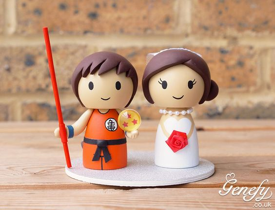 Cute kid Goku and bride wedding cake topper by Genefy Playground https://www.facebook.com/genefyplayground: