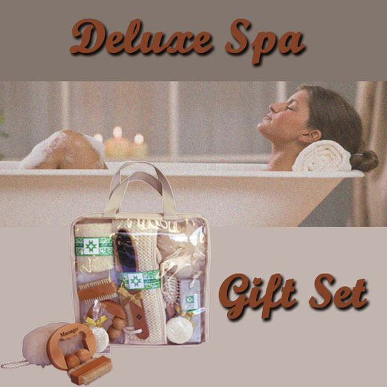 This Deluxe Spa Set contains all the accessories needed to pamper and rejuvenate, packaged in an easy to carry tote bag with canvas trim.