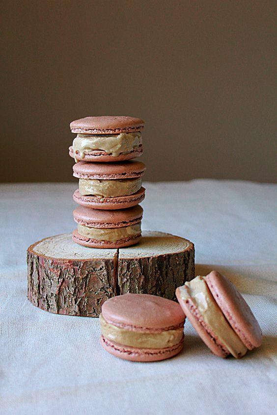 Dark Chocolate Macaron Espresso Ice Cream Sandwiches