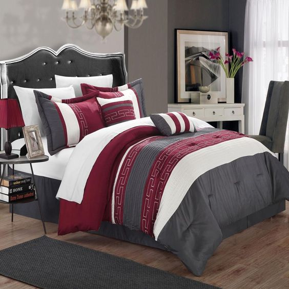 Carlton burgundy grey white king 6 piece comforter bed for Maroon bedroom designs