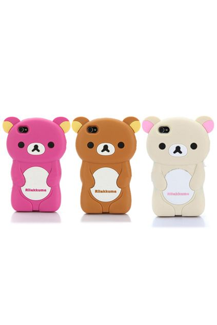 Cute Soft Silicone 3D Rilakkuma Bear Rubber Case For iPhone 4 4S