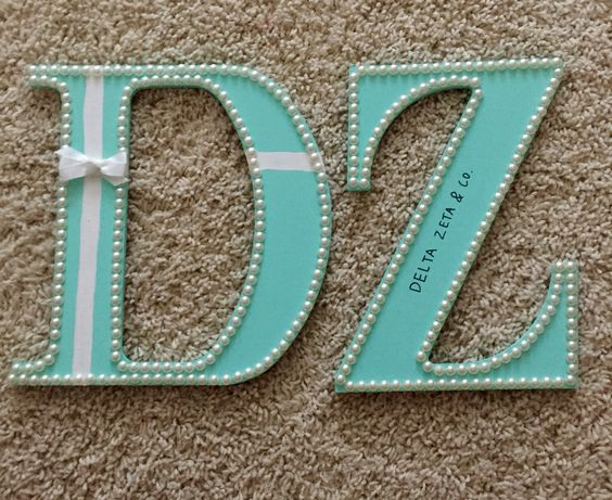 Delta zeta version of Tiffany and co sorority letters
