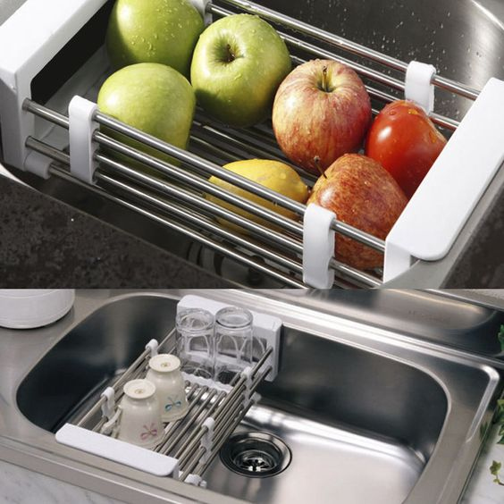 Telescopic Kitchen Sink Dish Rack Insert Countertop Storage Organizer Tray #New