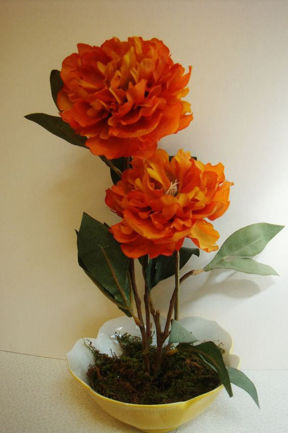 Floral Arrangement in Orange Floral Frog by SweetPeasFlorals