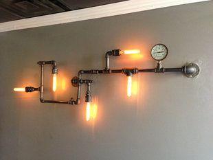 Industrial Pipe Wall Retro Bedroom Lamp Iron Loft Coffee