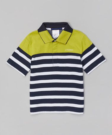 This Lime & White Stripe Long-Sleeve Polo - Toddler & Boys by J Point is perfect! #zulilyfinds