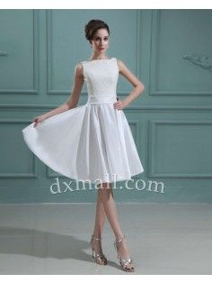 Short Wedding Dresses Bateau Knee Length Taffeta  Ivory 01001100052