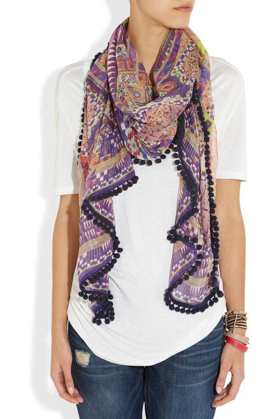 Matthew Williamson|Modal and cashmere-blend bobble scarf|NET-A-PORTER.COM