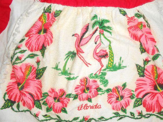 Vintage Apron Florida State Souvenir Apron PINK FLAMINGO PALM TREE PINK FLOWERS