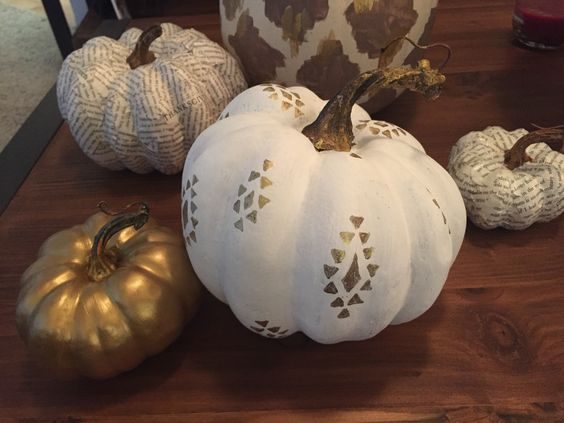 Gold and white Painted  pumpkins with tribal print