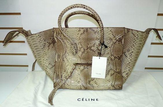 celine tie handbag - Authentic Celine Phantom Python Real Snake Leather Medium Tote Bag ...