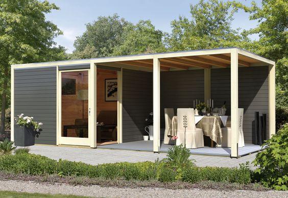 Karibu Gartenhaus 28 mm Cubus Eck 2 320x320cm terragrau + EPDM Bild 3