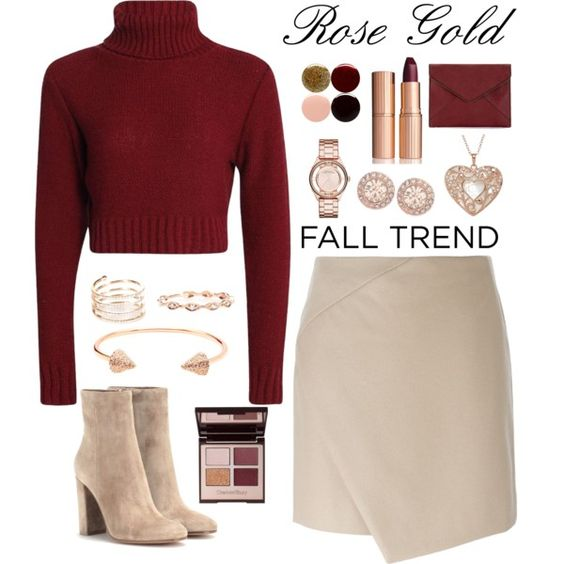 Rose gold by samang on Polyvore featuring Carven, Gianvito Rossi, Rebecca Minkoff, CC SKYE, Givenchy, Marc by Marc Jacobs, STONE, Charlotte Tilbury, Nails Inc. and women's clothing