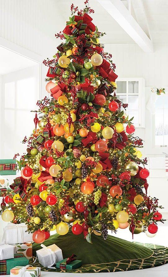 Berry And Bright Fruit Ornaments Set Of 12 Frontgate Fruit Ornaments Orange Christmas Tree Fall Christmas Tree
