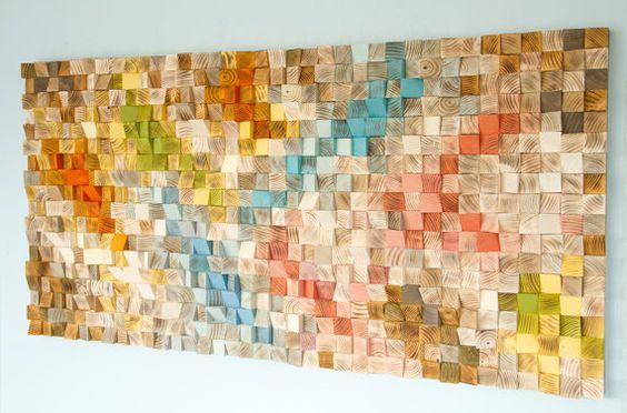 """Arte de pared de madera, arte geométrico de madera, mosaico, mediados siglo colores, """"Primavera"""", las tendencias de color primavera 2016"""