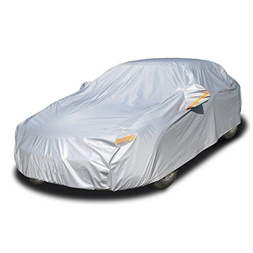 Kayme Four Layers Waterproof All Weather Car Covers With Cotton Zipper Sun Uv Rain Protection For Automobiles Indoor Outdoor Fit Sedan Wangon 174 To 193 3xl Waterproof Car Car Covers Rain