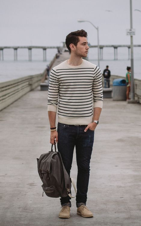 Round neck sweater, stripes styled with Dark Narrow leg jeans and Tan Boots.
