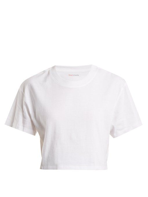 Hanes X Karla The Crop Cotton Jersey T Shirt Cropped White Shirt T Shirt Png Belly Shirts