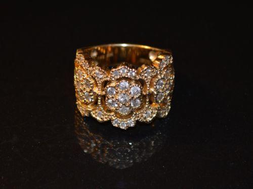 Effy 14k yellow gold 1 5 ct diamond cluster ring heavy 11 6 g sz 8