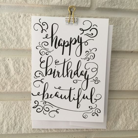 Happy Birthday Beautiful! - Calligraphy Greeting Card