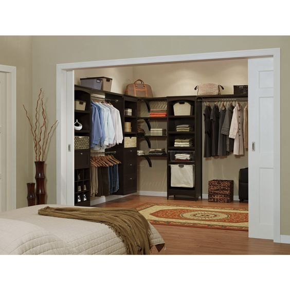 Shop Allen Roth 8 Ft Java Wood Closet Kit At