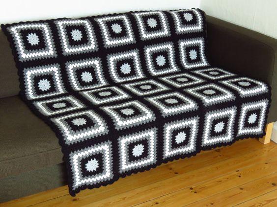 "Grey Throw Blanket Black Throw Blanket 49"" x 49"" 124cm x 124cm"