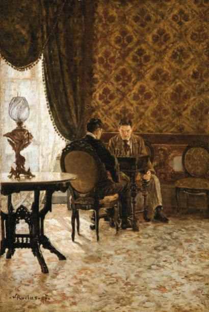 Julio Ruelas (1870-1907) Les joueurs d'échecs dans un intérieur . Julio Ruelas est considéré comme le grand peintre symboliste mexicain. Notre tableau appartient à un répertoire réaliste paralléle à ses créations allégoriques et fantastiques. Ayant fait ses études artistiques à Dantzig, il s'installera à Paris en 1904 où il mourra en 1907. Il est un des cofondateurs et illustrateurs de la revue d'avant-garde de Mexico « Revista Moderna ». http://themaskedlady.blogspot.com.es/: