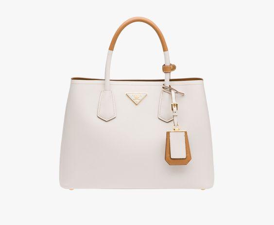 fake prada logo - Prada Double Saffiano leather bag with two-tone handle Double ...