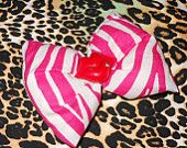 Red Kiss and Pink Zebra Print Hair Bow // Barrette