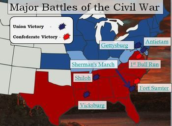 civil war interactive battle map and worksheet w key civil wars teaching and keys. Black Bedroom Furniture Sets. Home Design Ideas