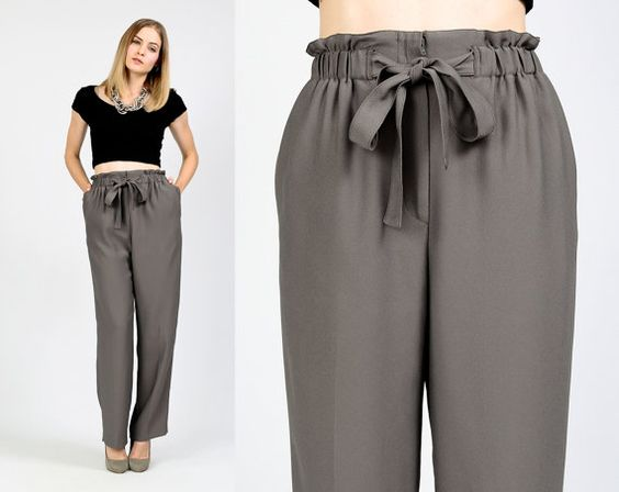 TAILLE de sac de papier Vintage papillon gris gris xs S pantalon pantalons jambes larges haute cintrée réunis