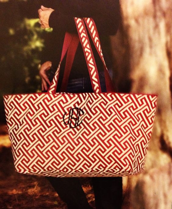 Greek Key Tote bag Large market bag Monogrammed by Baileywicks