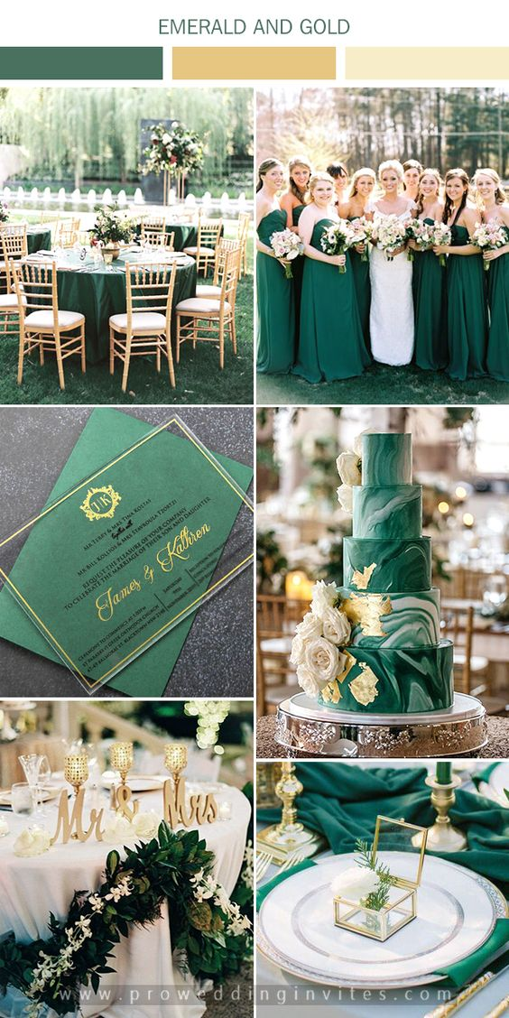 The Best Gold Wedding Colors Combos for 2021: Gold + Emerald Green