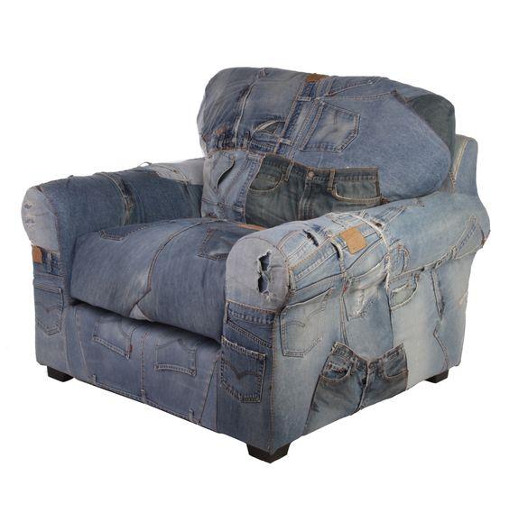 Denim Armchair Made Levi s Jeans Matt Blatt