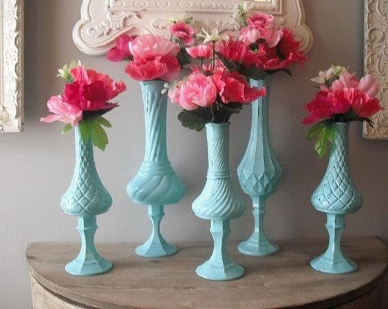 Dollar tree candle sticks and cheap vases diy
